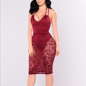 Fashion Nova Burgundy Lace Dress